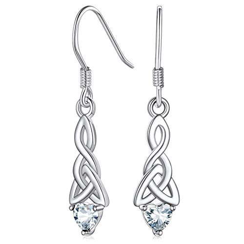 Red April Birthstone Women Dangle Earrings Sterling Silver Vintage Ireland Celtic Knot Shiny Earring Jewelry for Mom
