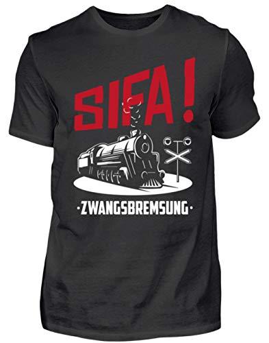 SIFA! Zwangsbremsung - Geschenk-Idee für Lok-Führer & Eisenbahner - Herren Shirt -L-Schwarz