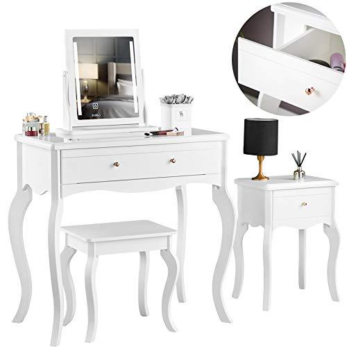 Sorrento - Witte kaptafel bijzettafel met lade Rose Gold-handgrepen Kruk en spiegel met LED-verlichting Vierdelige set slaapkamermeubilair