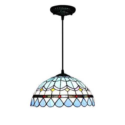 Lámpara colgante de cristal tipo Tiffany, estilo lujoso, antiguo, mediterráneo, color azul, 30,5 cm