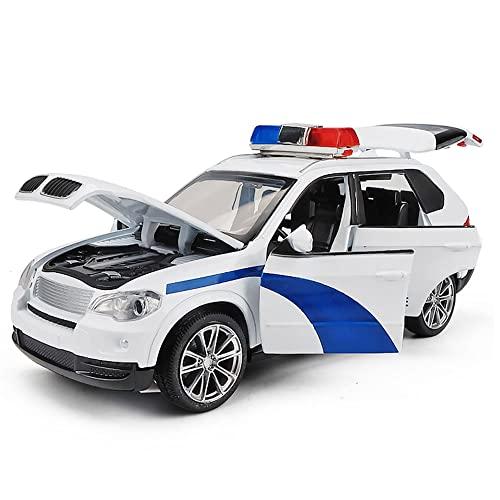 Xolye 1:32 Aleación Coche De Policía Modelo De Vehículo Todoterreno Adornos Simulación Sonido Y Efecto De Luz Coche De Juguete Para Niño Puede Abrir La Puerta Para Tirar Hacia Atrás Coche De Juguete D