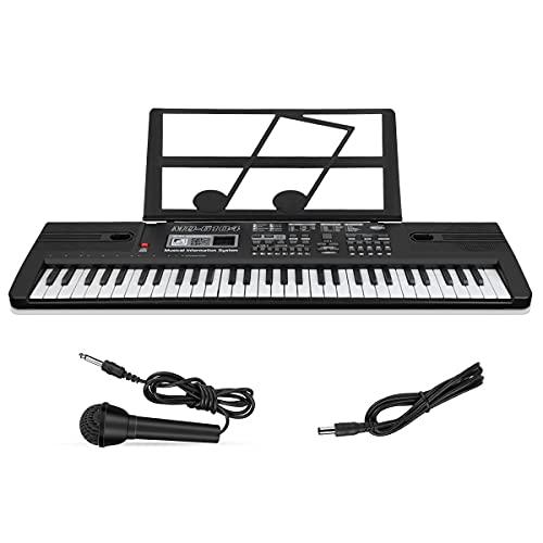 Multifunktions Digital Piano 61-Tasten-Tastatur Klavier Kinder Keyboard E-Piano mit Mikrofon und Notenständer tragbare Tastatur Piano Keyboard Für Jungen und Mädchen Geschenk 66 x 19 x 5,5 cm