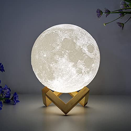 BRIGHTWORLD Moon Lamp Moon Night Light 3D Printed 7.1IN Lunar Lamp for Kids Gift for Women USB Rechargeable Touch Control Brightness Warm and Cool White