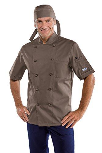 Isacco - Chaqueta de cocinero clásica, barro, XXL, 65% poliéster, 35% algodón, media manga, botones antipánico - Tejido 195 gr/m2