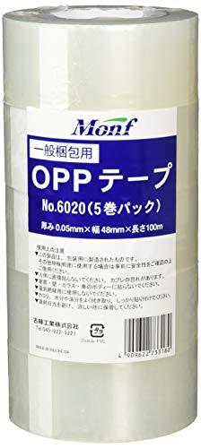 古藤工業 Monf No.6020 OPP粘着テープ クリア 幅48mm×長さ100m 5巻入り