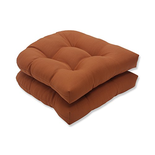 Pillow Perfect Outdoor/Indoor Cinnabar Tufted Seat Cushions (Round Back), 19' x 19', Burnt Orange, 2 Pack