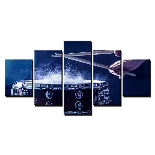 HD Wandkunst Poster Home Decoration 5 Panel Regentrommel Wohnzimmer Malerei modulare Bild Leinwand Malerei-16x24/32/40inchWith frame