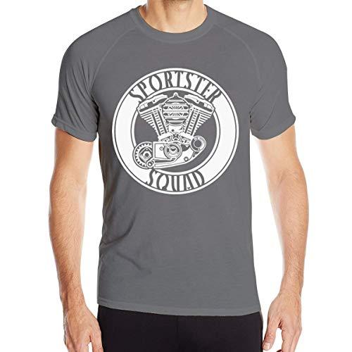 Men's Dry Cycling Logo of Sportster Squad Classic Round Neck Quick-Dry T-Shirt -Black,Deep Heather,Deep Heather,Medium