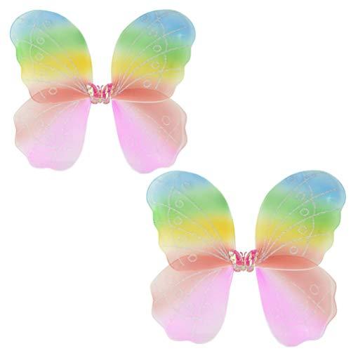 STOBOK 2 Stücke Kinder Schmetterling Fügel Kostüm Karneval Tinkerbell Fee Flügel Prinzessin Kostüm Zubehör Geburstag Party Geschenk für Kinder Mädchen Bunt