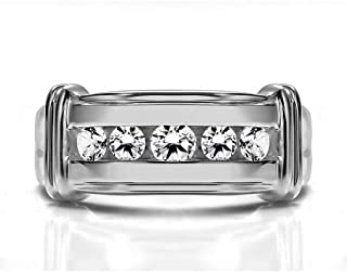 TwoBirch Sterling Silver Men's Ring with Ribbed Shank Design With Cubic Zirconia(1Ct. Size)