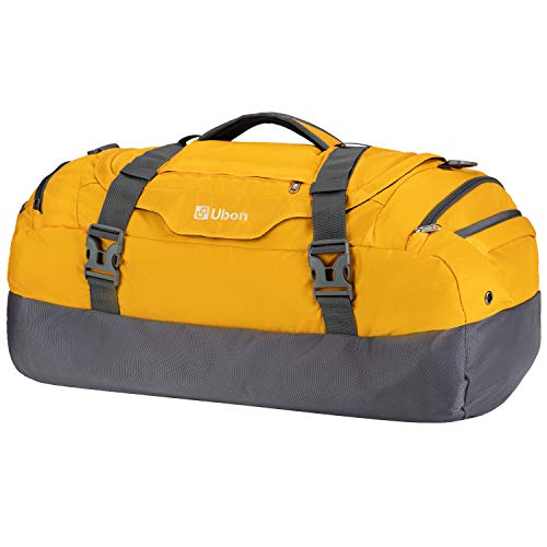 Ubon Travel Duffel Bag Carry on Bags for Airplane 55L for luggage Travel Yellow