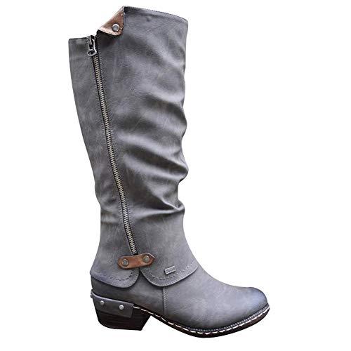 Fanville Vrouwen Western Cowboy knie laarzen lage hak laarzen Punk laarzen lage dikke hak Zijrits laarzen dames lage hak laarzen knie hoge laarzen