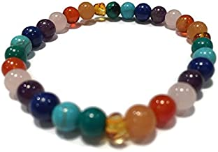 Healing Bracelet 7.5 inch Rainbow Honey Amber Pink Rose Quartz Red Agate Aventurine Cyrsocolla Arthritis Carpal Tunnel Swelling Headache Baltic Amber for Adults Stretch Woman Certified