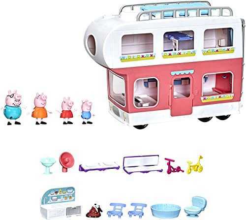 Peppa Pig Peppa's Adventures Peppa's Family Motorhome Preschool Toy, Vehicle to RV Playset, Plays Sounds and Music, Ages 3 and up