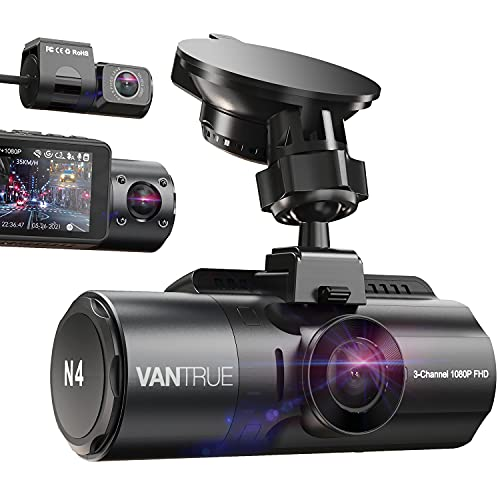 VANTRUE N4 Triple Dash Cam 3 Channel 1440P+1080P+1080P Front Rear and Inside Three Lens Dashcam for Cars with Infrared Night Vision, Capacitor Car Dash Camera, 24H Parking Monitor, Motion Detection