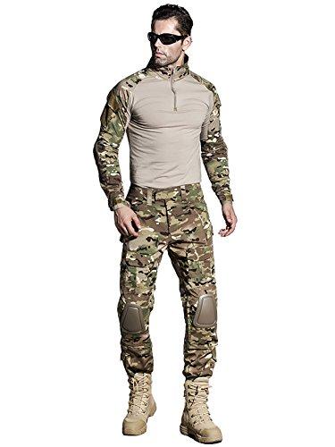 Army G3 Combat Uniform Shirt & Hose mit Knieschonern, Militär, Airsoft, Jagd, Apprael Gen.3 MultiCam Camo BDU (XL)