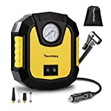 Tsumbay Compresseur d'air Gonfleur Pneu Voiture DC 12V 120w Pompe à Air Portable 150Psi Indicateur d'Aiguille, 3 Adaptateurs pour Voiture/SUV/Moto/Airbed/Vélo etc, LED, Sac de Rangement Inclus