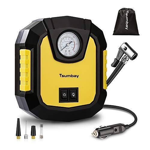 Tsumbay Auto Kompressor DC12V 120W 150Psi Mini Tragbare Auto Luftpumpe Zeiger-Manometer Luftkompressor Reifenpumpe Compressor LED Licht/ 3 Ventil-Aufsätzen/1 Sicherung/für Auto Fahrrad Motorfahrrad