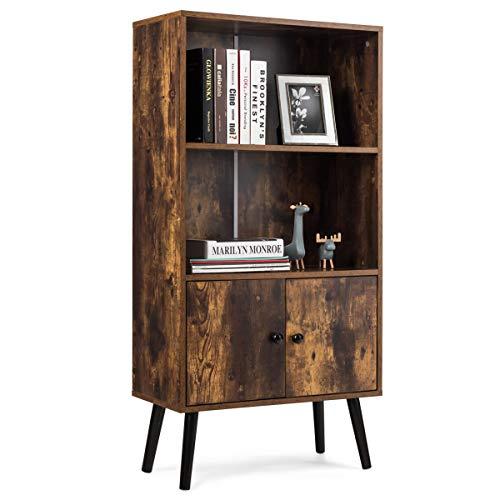 COSTWAY Bücherschrank mit 2 Türen, Bücherregal Holz, Standregal Vintage, Holzregal braun, Aufbewahrungsregal 60x30x120cm