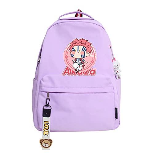 AHLBVTM Demon Slayer's Blade Schoolbag Tong Mo Yi Wo Seat Backpack No Misery Black Death Mou Backpack Tide-Pendant Purple Bean Eye Yi Wo Seat, 29X14X41CM