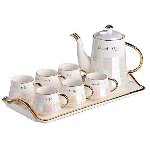 english tea set for adults ZQJKL Tea Set for Adults Porcelain Tea Sets Afternoon Tea Set Service Modern Coffee Mugs Cups Set with Teapot and 6 Teacups Wedding Tea Service