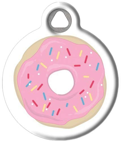Dog Tag Art Food and Snack-Themed Custom Pet ID Tags for Dogs and Cats, Personalized Dog Tags with Customized Identification Information - Strawberry Frosted Donut - Large