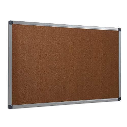 Certeo Kork-Pinnwand mit Aluminiumrahmen | HxB 60 x 90 cm | Pinnwand Notizwand Notiztafel