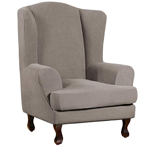 Stretch Wing Chair Slipcover Wingback Chair Slipcovers Sofa Covers 2-Piece Spandex Fabric Wing Back Wingback Armchair Chair Slipcovers(Wing Chair, Taupe)