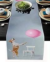 テーブルランナー 動物 犬 椅子 ピンク テーブルクロス モダン 北欧風 プレースマット レストラン用 滑り止め 上品 断熱 食卓飾り お食事マット おしゃれ インテリア 33x274cm