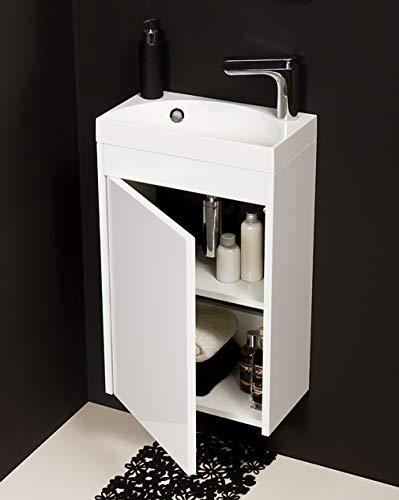 Quentis Badmöbel Gäste-WC Set Guest, Breite 40 cm, Waschbecken mit Unterschrank, weiß, Waschbeckenunterschrank montiert