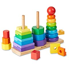 EDUCATIONAL GEOMETRIC STACKER TODDLER TOY: The Melissa & Doug Geometric Stacker Toddler Toy features 25 colorful wooden pieces of rings, octagons, and rectangles that can be matched and stacked on three rods. HIGH-QUALITY CONSTRUCTION: This geometric...
