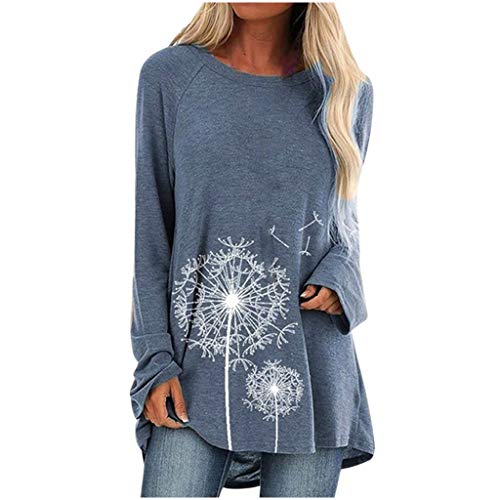 UJUNAOR Women's Fallen Oversized Long Sleeve Crew Neck Solid Flowy Tunic Tops Loose Fit Shirts Long Blouses Long Sleeves Flowers Casual Shirts Solid O-Neck Pullover Loose Tunic Top - - M