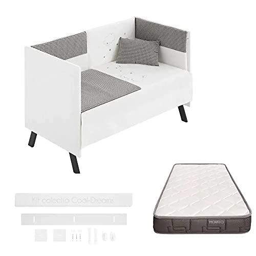 COOL · DREAMS - Cuna colecho Mia Black 120x60 + kit colecho + colchón HR Morfeo y 10 alturas de colecho