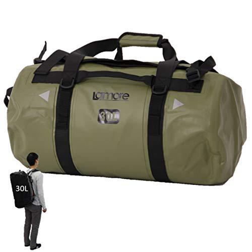 [Lamore] ダッフルバッグ 耐水 ボストンバッグ スポーツバッグ 旅行バッグ ジムバッグ 3way 大容量 ドラムバック リュック ポストン 旅行 duffel [A354] (1) アーミーグリーン, 30L)