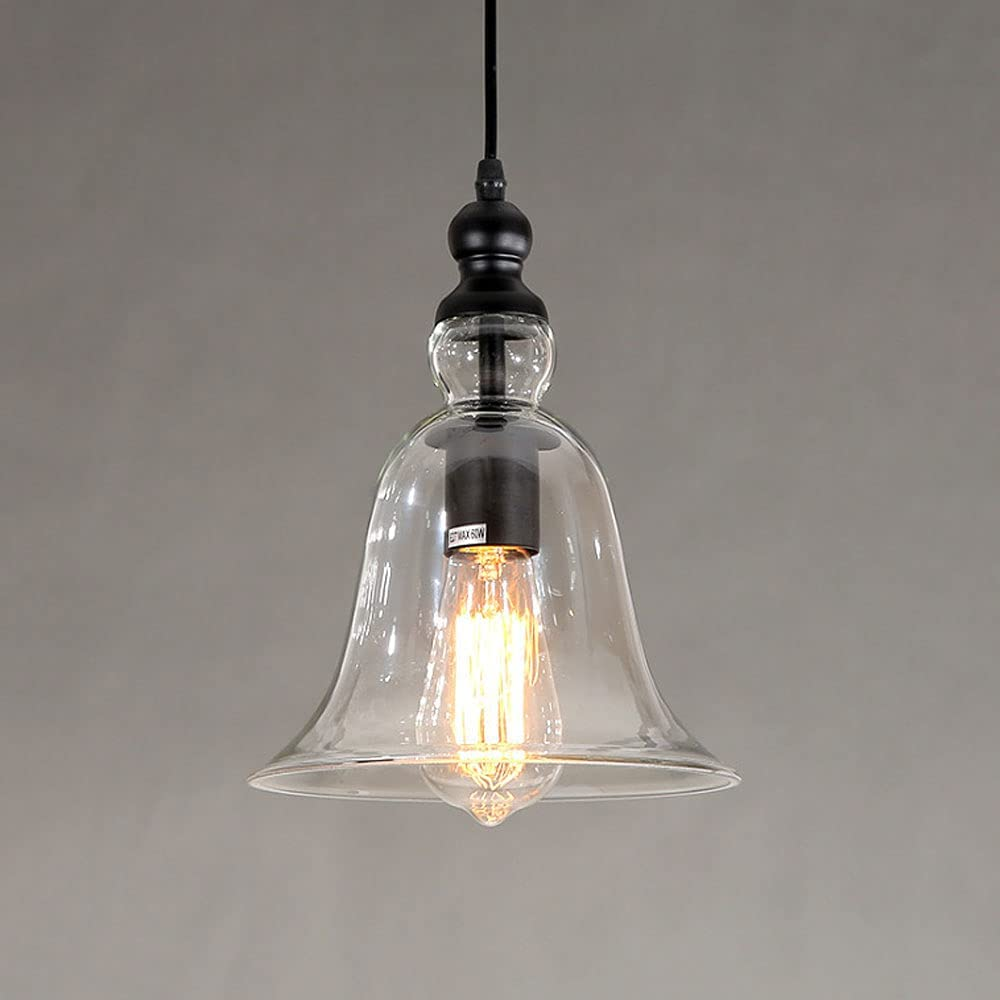 Lámpara colgante de vidrio tipo domo, lámpara colgante de metal negro vintage, accesorio de iluminación de isla de cocina, luces de techo rústicas para restaurante, comedor, hogar, mini candelabro E27