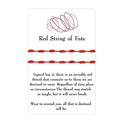 HELYZQ Pulseira de corda vermelha com 7 nós de boa sorte, 2 peças, com pulseiras de amizade de cartão de desejos
