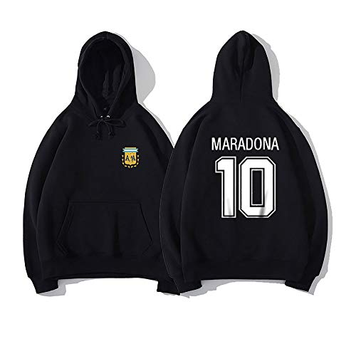 Sudadera con Capucha de Men Maradona, suéter Argentino, Camiseta de poliéster suéter de Manga Larga, Homenaje a la Gran Pelota Rey Maradona Style 3-L