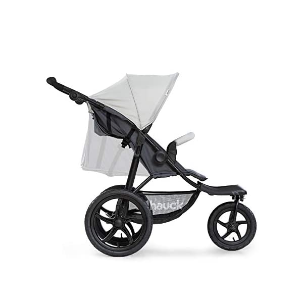 Hauck Runner, Jogger Style, 3-Wheeler, Pushchair with Extra Large Air Wheels, Foldable Buggy, For Children from Birth to 25kg, Lying Position - Silver Grey Hauck LONG USE - This 3-wheel pushchair is suitable from birth (in lying position or in combination with the 2in1 Carrycot) and can be loaded up to 25kg (seat unit 22 kg + basket 3 kg) ALL-TERRAIN - Thanks to the big air wheels - back 39cm diameter, front 30 diameter – as well to the swiveling and lockable front wheel, this jogger style pushchair can be used on almost any terrain COMFORTABLE - Thanks to adjustable backrest and footrest, sun canopy, large shopping basket, and height-adjustable push handle 18