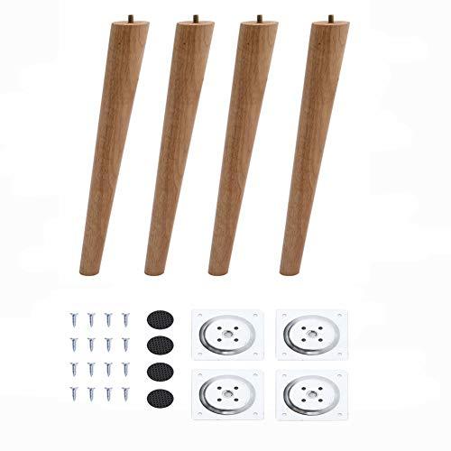 4 Stück Holz Möbelfüße 25cm Tischbeine Konisch Möbelbeine aus Eiche mit Montageplatten und Schrauben für Sofa Schrank Kabinett Couch Stühle Bett Natürliche Farbe
