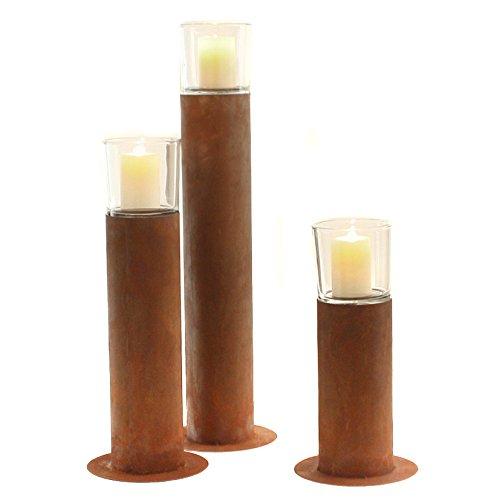 stimmungsvolles Windlicht Windlichtständer Metall Edelrost Kerzenständer mit Glasaufsatz (S)