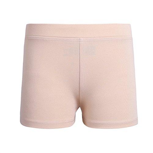 ranrann Girls Stretchy Boy Cut Activewear Gymnastic Shorts Dance Exercise Workout Under Skirt/Dress, Nude, 12-Nov