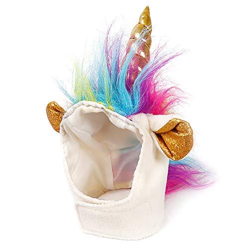 mxdmai Katzen-Einhorn-Hut Einhorn-Kostüm für kleinen Hund-Katze-Welpen Novel Lustige Verstellbarer Cosplay Mane Hut Kopfbedeckung für Foto Props bei Halloween Festival Geburtstags und Thema-Party