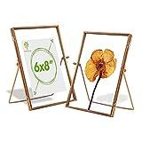 Nicola Spring 5 pieza metálica flotante de fotos Marcos Set - Independientes escritorio de la tabla de fotos marco de Pantalla - 6 x 8 - Rosa de Oro
