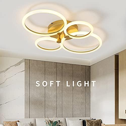 Lámpara LED de Techo para Dormitorio Salón Decor Moderna Redonda Diseño Dorado Regulable para Oficina Comedor Baño Pasillo Mando a Distancia Techo Lámpara Colgante Elegante Acrílico Lámpara de Cocina