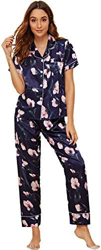 Floerns Women s Printed Pajamas Set Button Down Sleepwear Nightwear Pj Lounge Sets Purple Floral product image