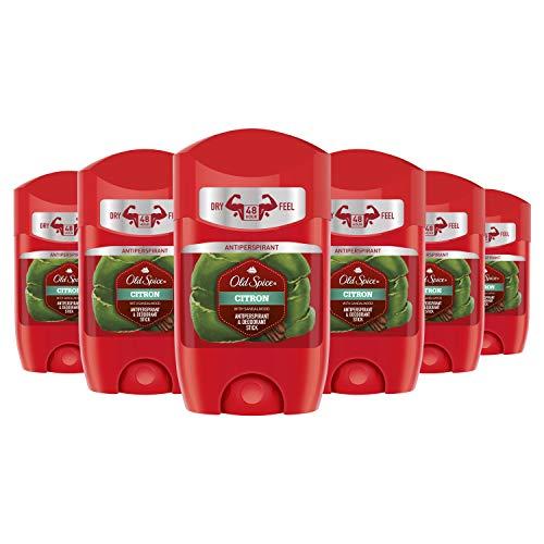Old Spice Citron Anti-Transpirant und Deo-Stick für Herren, 50 ml, 1 Packung mit 6 Einheiten