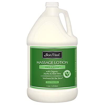 Bon Vital' Organica Massage Lotion Made with Certified Organic Ingredients for an Earth-Friendly & Relaxing Massage, Natural Moisturizer Perfect Lotion for Relaxing Back & Neck Massages, 1 Gal Bottle