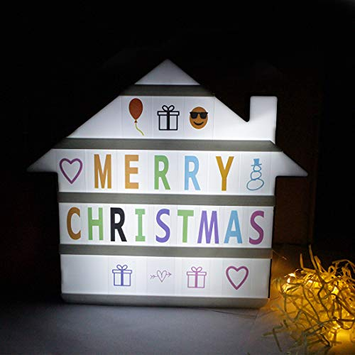 BoShahai House Cinema Light Box with Letters, 2021 Upgraded Led Light Box with 192 Letters Numbers & Symbols for Christmas Home Decor/Birthday Parties/Teen Gift, USB Or Battery(Not Included) Power