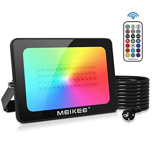 MEIKEE Foco LED RGB de Colores 60W con Control Remoto, 12 Colores, 2 Modos 6 Opciones de Brillo, Impermeable IP66, Iluminación LED decorativa para Jardín, Halloween, Comercial, Festivas