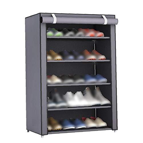 Caja de Almacenamiento de 6 Niveles de Calzado Gabinete de Tela no Tejida Zapatos Rack Torre de Almacenamiento Organizador Zapatero Soporte de Plata Gris para el Dormitorio Dormitorio